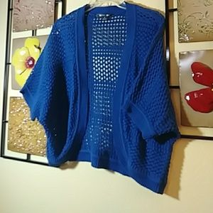 89th & Madison royal blue knitted sweater shrug
